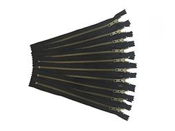 10 gold antique zippers by YKK - no.5 bag zippers - 8 inches