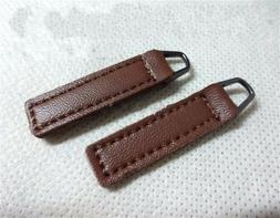 10pcs PU Leather Zipper Pull Tabs 10X35mm for Boot/Jacket/Ba