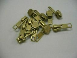 12 Pieces Slider Pulls . YKK Gold Metal Jacket Zipper Slider