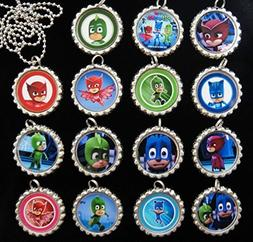 15 PJ MASKS Flat Bottle Cap Necklaces for Birthday, Party Fa