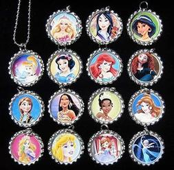 15 PRINCESS Flat Bottle Cap Necklaces for Birthday, Party Fa