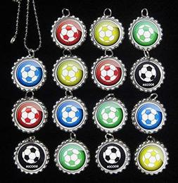 15 SOCCER BALLS Flat Bottle Cap Necklaces for Birthday, Part