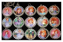 15 SOFIA THE FIRST PRINCESS Flat Bottle Cap Necklaces for Bi