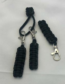 "3 PACK 3.50"" BLACK PARACORD ZIPPER PULLS CUSTOM MADE WITH SW"