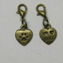 """3pc or 10pc Bronze """"Heart Dog"""" and Pawprint Zipper Pull/ Cha"""