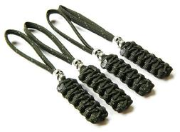 4 Reflective Olive Drab Paracord Zipper Pulls or Knife Lanya