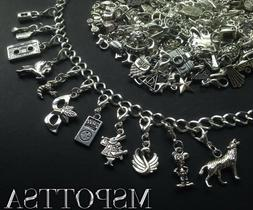 40 Mixed Bracelet Clip Ons Charms Silver Zipper Pulls Purse