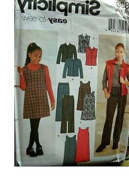 Simplicity 4839 Sewing Pattern Girls Jacket Vest Pants Jumpe