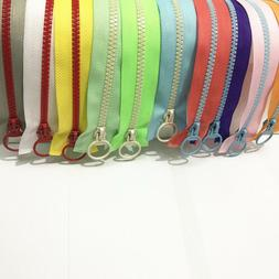 5-20pcs hit color 30cm-60cm openings 5# resin zipper pull ri