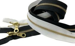YKK #5 Brass Metal Donut Pull Zippers for Sewing Bags Craft