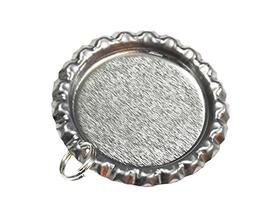 50 Flat Bottle Cap Pendants with Holes and Split Rings Attac