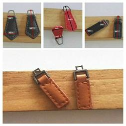 5Pcs PU Leather Alloy Zipper Tags Fixer Pull Tab Replacement