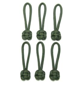 "6 PACK 2-5/8"" OD ARMY GREEN 550 PARACORD ZIPPER PULLS"