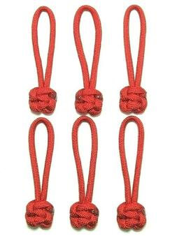 "6 PACK 2-5/8"" RED 550 PARACORD ZIPPER PULLS"