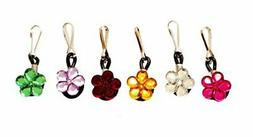 6 pcs Crystal Flowers Zipper Pull Charms for Jacket Backpack