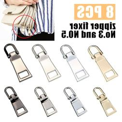 8pcs Replacement Zipper Pull Tab Zip Fixer for Clothes Bags