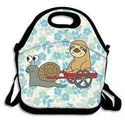 BjlkMLMLM Cute Snail Pulling Sloth Lunch Bag Large Reusable