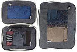 Compression Packing Cubes w/Space-Saving Double Zipper, Set