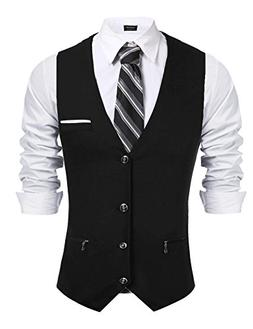 Coofandy Mens Business Suit Vest Slim Fit Formal Dress Suit