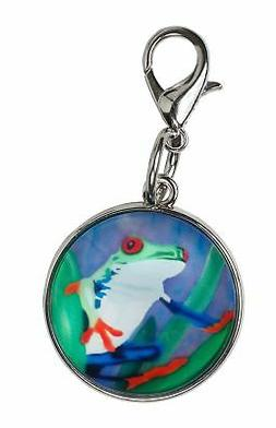 Frog Zipper Pull Charm, Bag Charm Lobster Claw Clasp -Animal