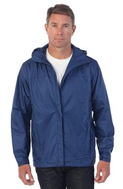 Gioberti Men's Waterproof Rain Jacket, Navy, Large