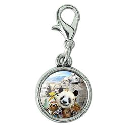 Moose Antiqued Bracelet Pendant Zipper Pull Oval Charm with Lobster Clasp