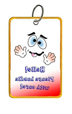 Humorous Extra Large Luggage Tag: Hello! Please handle with