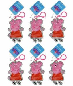 "Peppa Pig 4"" PVC Zipper Pull, Silver Glitter, 6-Pack Party F"