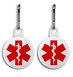 RED SYMBOL Medical Alert 2-Pack White 1 Zipper Pull Charms
