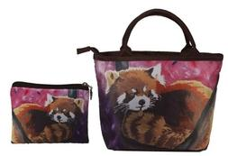 Red Panda Small Handbag Set - Matching Purse and Coin Purse,