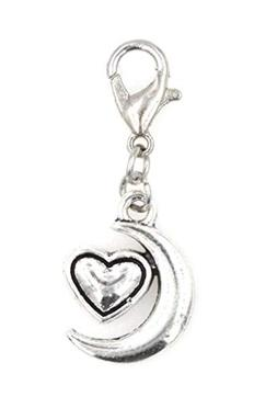 Heart & Moon Clip On Charm Perfect for Necklaces and Bracele