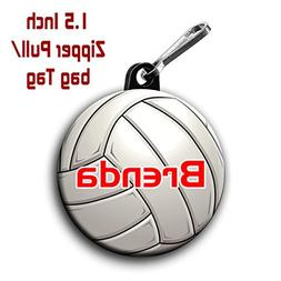 Two Volleyball zipper pull bag tags 1.5 inch charms personal