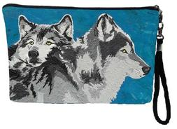Wolf Large Vegan Wristlet, Wolves Pencil Bag, Cosmetic Bag -