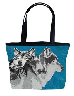 Wolf Shoulder Bag, Vegan Wolves Tote Bag - Animal Prints - F