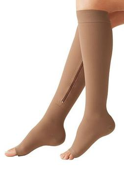 Zipper Medical Compression Socks With Open Toe - Best Suppor