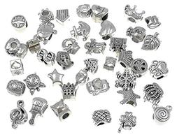 40pcs Antique Silver Assorted Big Hole Spacer Bead Charm Pen