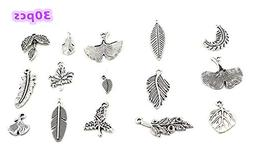 30pcs Assorted Feather and Tree Leaf Charms Pendants for DIY