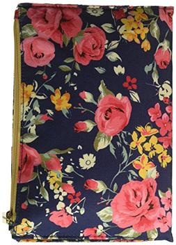 Augusta Floral Rose Canvas-Like 5.5 x 8 Inch Journal with Zi