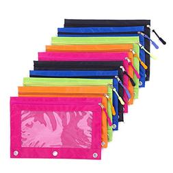 Binder Pencil Pouch with Zipper Pulls, Pencil Case with Rive