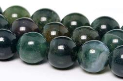 10mm Natural Botanical Moss Agate Gemstone Beads Round Loose