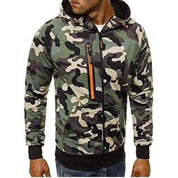 GOVOW Camouflage Zipper Hoodie for Men Pullover Long Sleeve