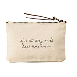 Mud Pie 4485031M Canvas Pouch Cosmetic Bag - Moon & Back