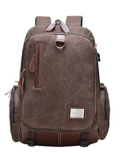 Bronze Times  Casual Canvas Travel School Laptop Backpack Ru
