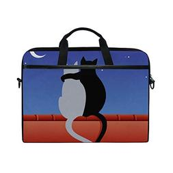 IMOBABY Cats Love with Moon Laptop Bag Canvas Messenger Shou
