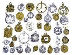36pcs Clock and Watch Dial Face Movement Charm Alloy Multist