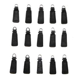WSSROGY 15Pcs Genuine Leather Zipper Pull for Boot/Jacket/Ba
