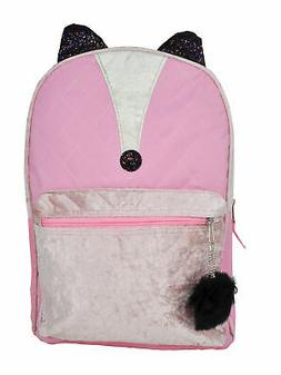 girls fox backpack 16 quilted pink front