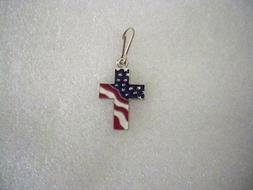 God and Country, Patriotic Cross zipper-pull, silvertone, ma