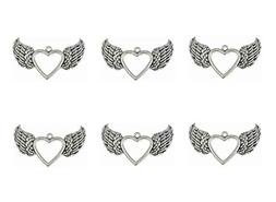 ALIMITOPIA 20pcs Hollow Heart Angel Wing Punk Charms Pendant