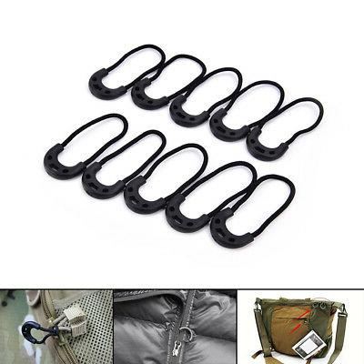 10pcs EDC Black Zipper Pulls Cord Rope For Outdoor Travel Cl
